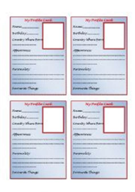 template for personal profile worksheet personal profile card template