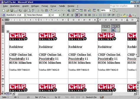 Vorlage Word Visitenkarte Visitenkarten Assistent F 252 R Ms Word 97 2000 2002 Chip