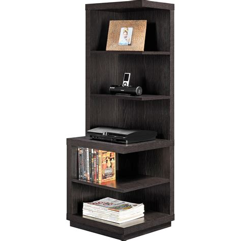corner shelf bookcase brown wood 5 shelves book storage