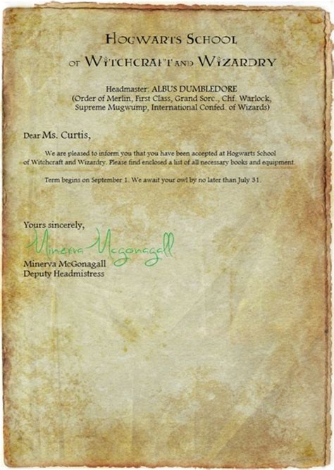 Harry Potter Acceptance Letter List Free Personalized Harry Potter Hogwarts Acceptance Letter And Supplies List Other Listia