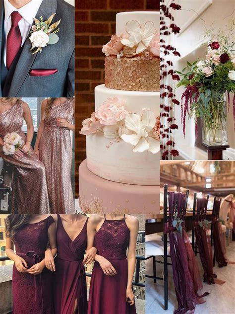 Burgundy and rose gold wedding color scheme for fall