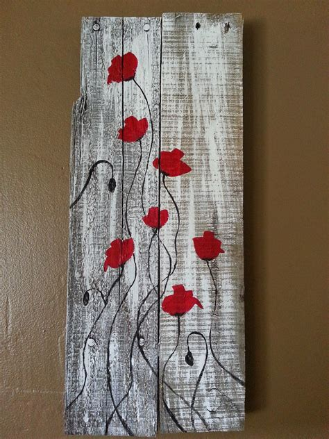 acrylic paint on wood poppies on reclaimed wood primitive by