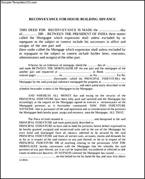 Deed Of Conveyance Template deed of re conveyance form exle sle templates