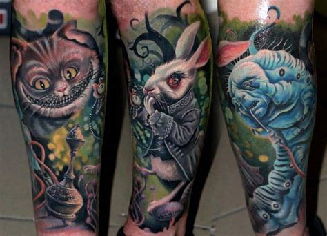 alice in wonderland sleeve tattoo characters from the in come
