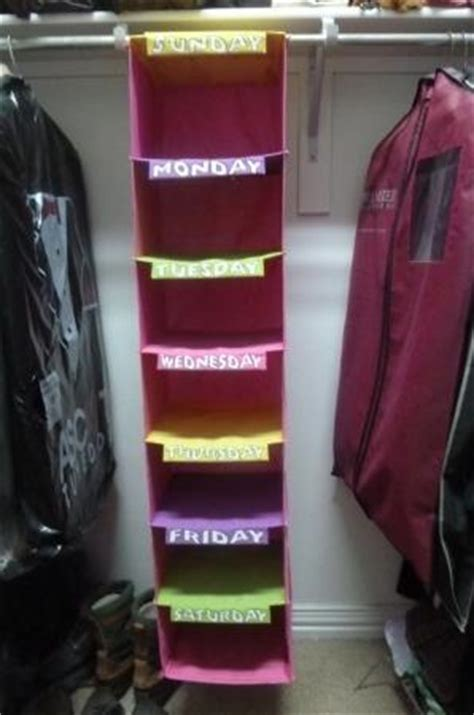 day of the week closet organizer back to school hanging days of the week closet organizer
