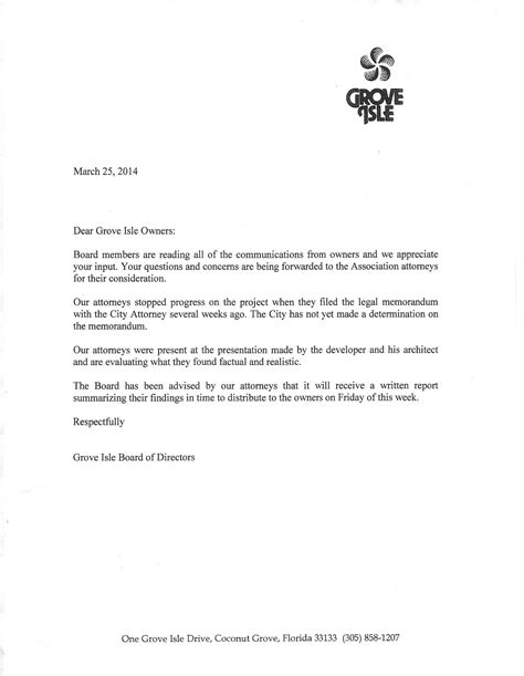 Financial Reference Letter For Condo Board miami21 grove isle