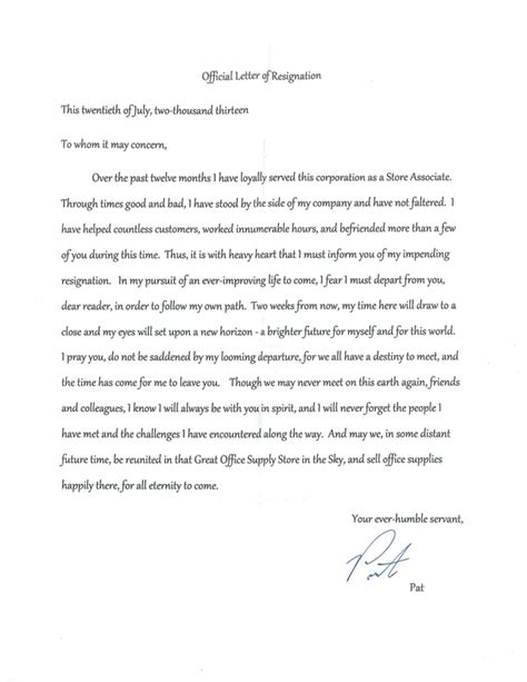 Best Diplomatic Resignation Letter the best resignation letter sle slebusinessresume
