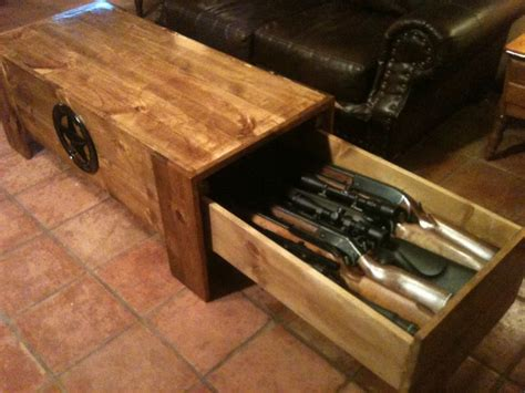 coffee table with hidden gun storage concealed pine coffee table 6 rifles this is very cool