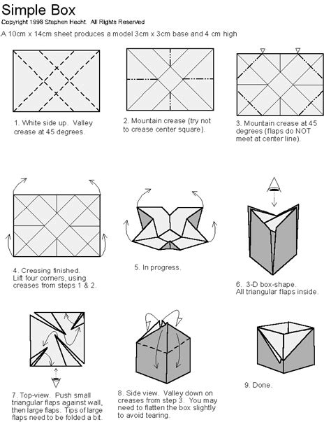 How To Make A Origami Box - hecht s web site origami diagrams