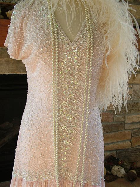 beaded 1920s dress vintage 1920s style beaded dress pink ivory white pearls