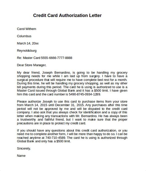 credit card authorization letter for friend 10 credit card authorization letters to sle