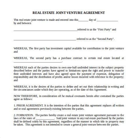 real estate agreement template sle real estate partnership agreement 9 free