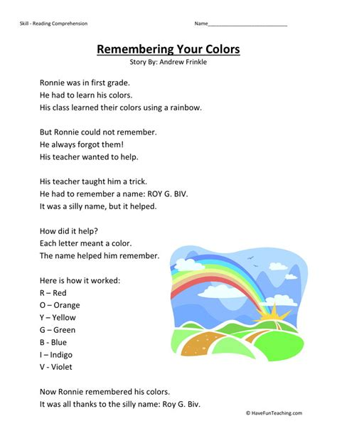 reading comprehension worksheet remembering  colors