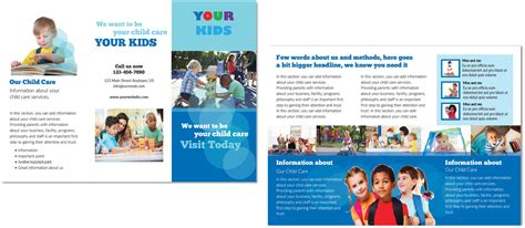 child care brochure templates child care brochure template 4 child care owner