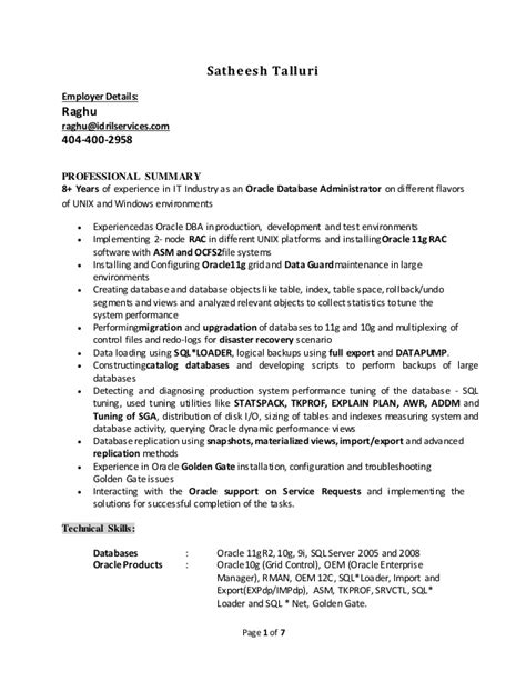 Oracle Dba Resumes Resume Template Dba Resume Template