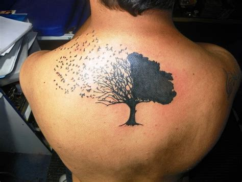 back tree and birds tattoo for men tattoos for men
