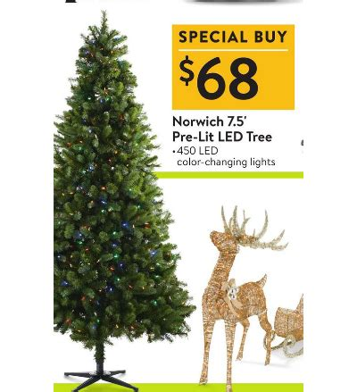 black friday 75 christmas tree norwich 7 5 pre lit color changing led tree walmart