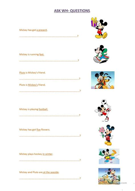 Mouse Worksheet Answers wh questions with mickey mouse worksheet free esl