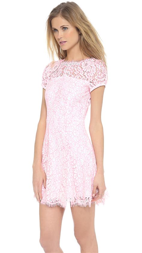 27858 Pink Lace Dress couture lace dress in pink menthol white pink lyst