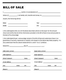 Bill Of Sale Automobile Template by Car Bill Of Sale Template