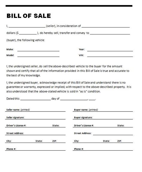 bill of sale template for car bill of sale for auto free printable documents