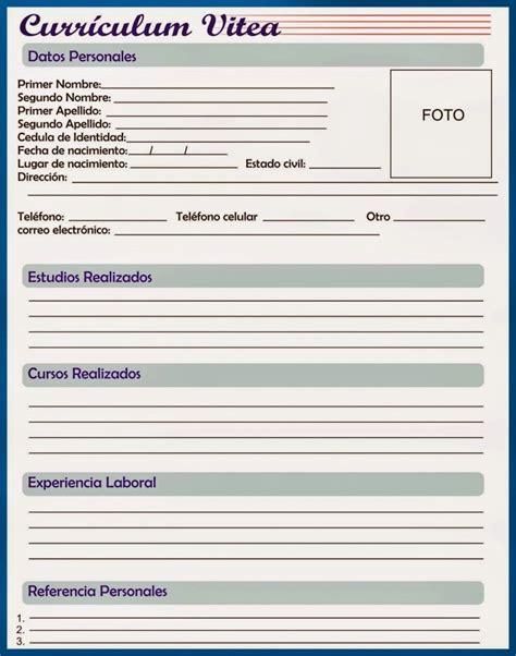 Modelo De Curriculum Vitae Para Rellenar 2015 Curriculum Pronto Para Preencher E Imprimir Toda Atual