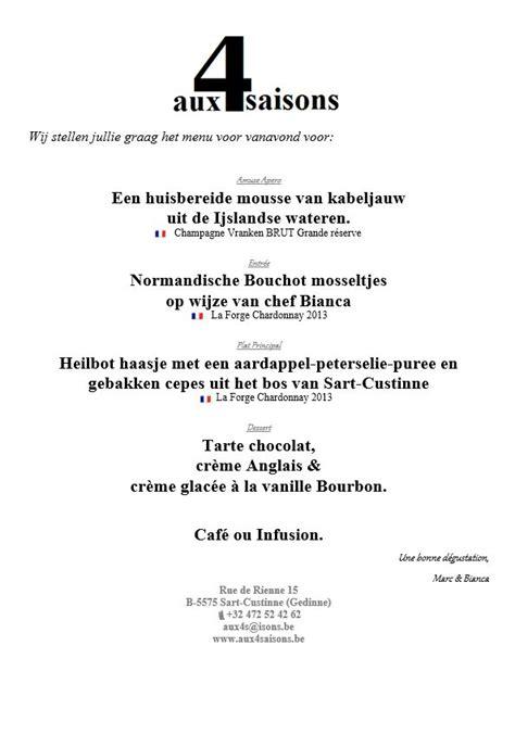 voorbeeld menukaart menukaart voorbeeld 3 aux 4 saisons