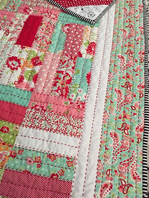 Patchwork And Stitching - big stitch using jelly roll jam pattern in scrumptious