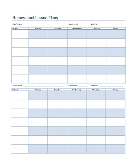 free printable lesson plans homeschool printable lesson plan 7 free word pdf documents