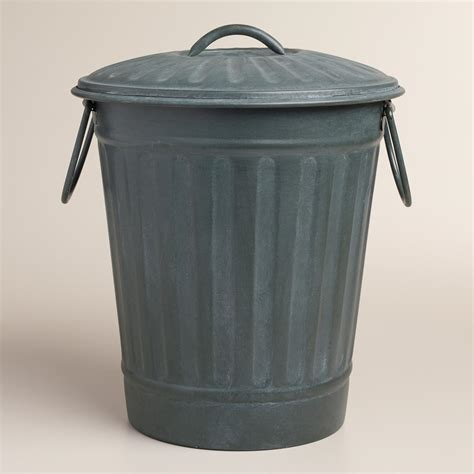 trash can large steel gray retro metal trash can world market