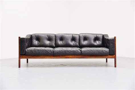 Rosewood Leather Lounge Sofa Denmark 1960 Mass Modern Design Leather Lounge Sofa