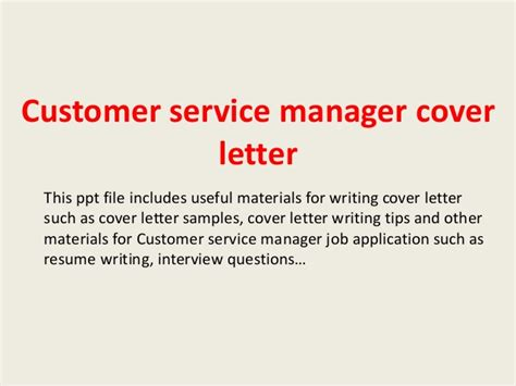 Client Services Manager Cover Letter by Customer Service Manager Cover Letter