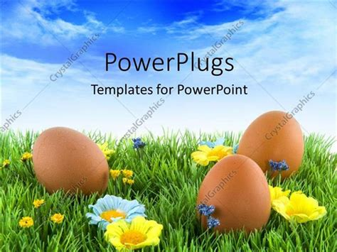 powerpoint template three brown colored easter eggs on an