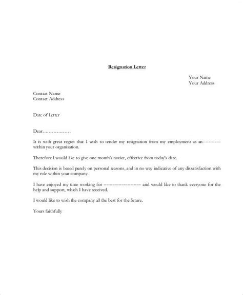 simple resignation letters simple resignation letters 5 exles in pdf word