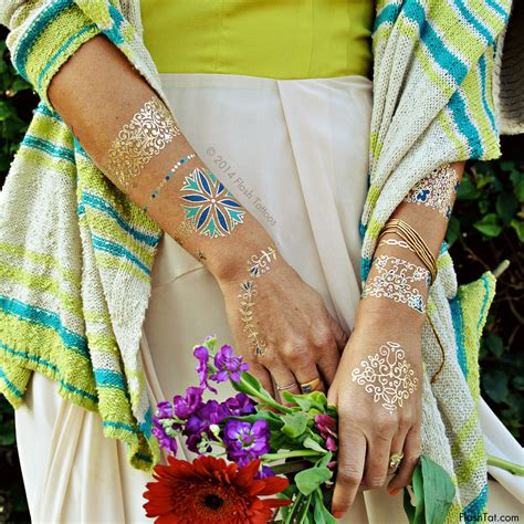 flash tattoo isabella flash tattoos temporary tattoos in gold and blue floral
