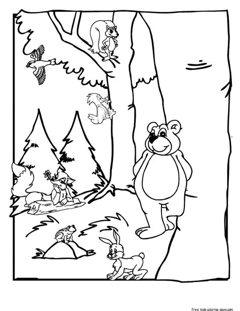 Forest Animal Coloring Pages free canda biome coloring pages