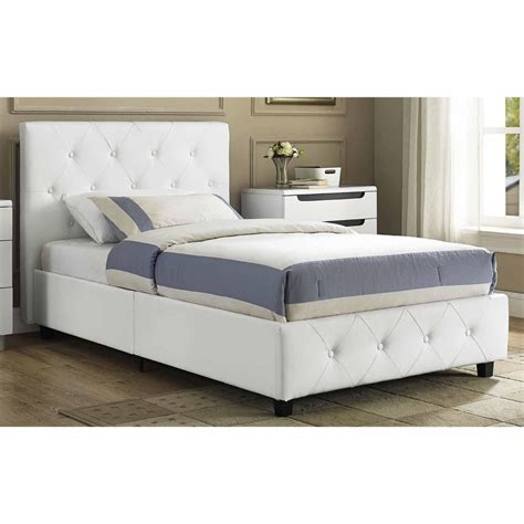 Leather Upholstered Bed Frame Leather Upholstered Bed Faux White Frame Platform With Headboard Ebay