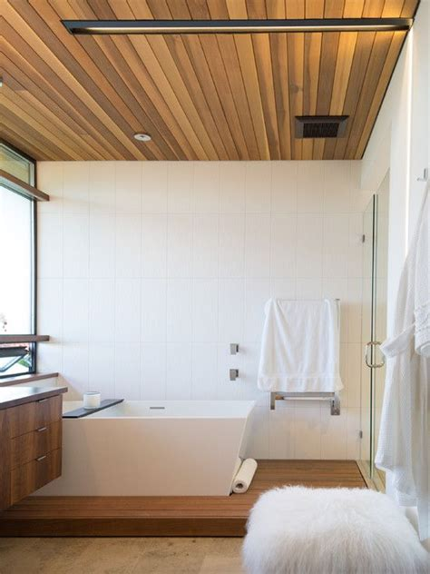 Bathroom Wood Ceiling Ideas | wood paneled ceiling modern bathroom moodboard