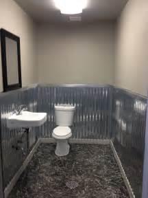 Bathroom Tin Walls Bathroom Remodel With Corrugated Metal On The Wall