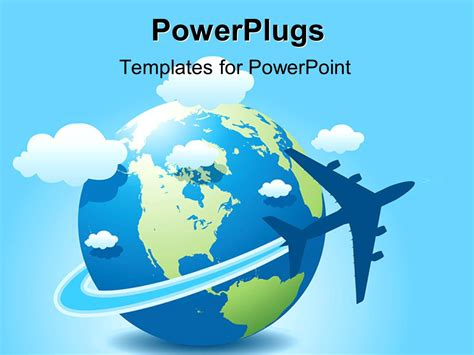 Powerpoint Template A Globe With Clouds And Bluish Background 1469 Microsoft Powerpoint Templates Travel