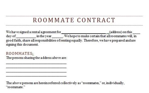 roommate agreement form real estate forms