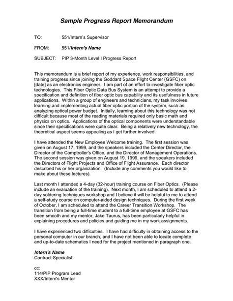 Progress Report Letter Exle Progress Report Memorandum In Word And Pdf Formats