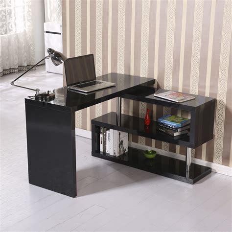 office desk shelf homcom rotating office desk and shelf combo black