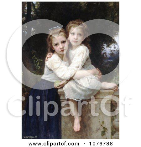 by william bouguereau two sisters two sisters hugging on a stone wall by william adolphe