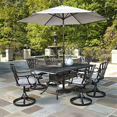 Patio Sets With Umbrella Home Styles Largo 7 Outdoor Patio Dining Set With Umbrella And Gray Cushions 5560 3756c