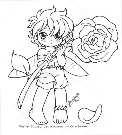 coloring pages of boy fairies fairy boy with flower otakon06 by chibi jen hen on