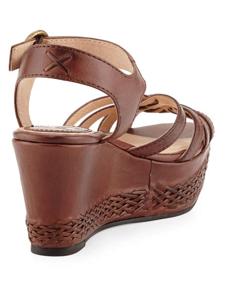wedge leather frye carlie 2 woven leather wedge sandal in brown 8