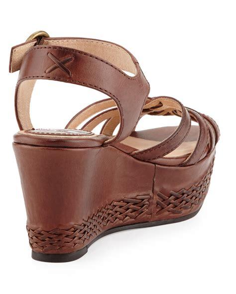 frye carlie 2 woven leather wedge sandal in brown 8 lyst