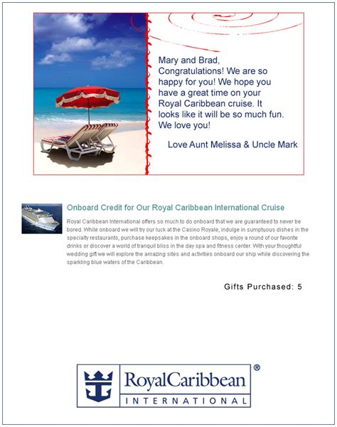 Royal Caribbean Gift Cards - royal caribbean international honeymoon registry