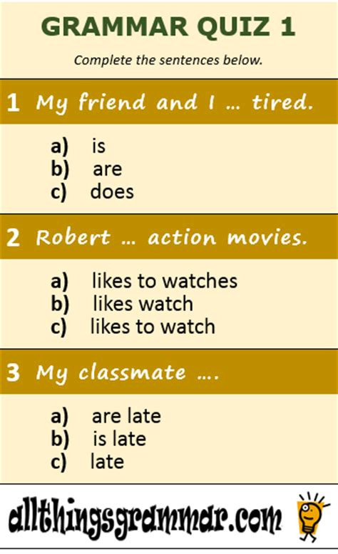 Fun Surveys - just for fun quizzes all things grammar